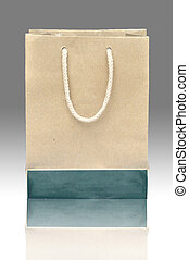 recycler, fond blanc, sac papier, ombre
