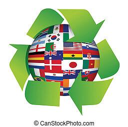 recycler, globe, drapeaux, illustration