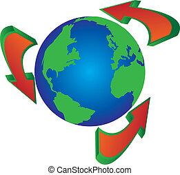 recycler, globe, flèches, autour de, wor
