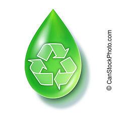 recycler, goutte, vert