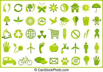 recycler, icône, ensemble