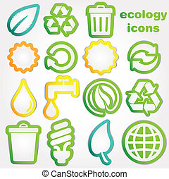 recycler, icônes, écologie, collectio