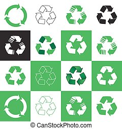 recycler, icon., vecteur, collection, illustration