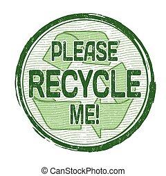 recycler, me, s'il vous plaît, timbre
