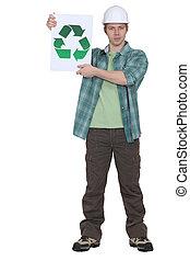 recycler, ouvrier construction, tenue, signe