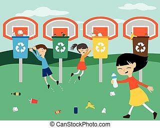 recycler, panier, enfants jouer