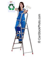 recycler, peintre, femme, tenue, signe