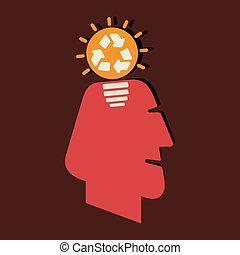 recycler, pensée, concept, ton