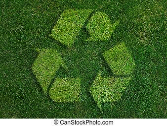 recycler, signe, vert