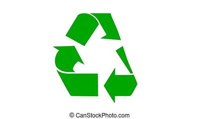 recycler, -, symbole, peinture, rouleau