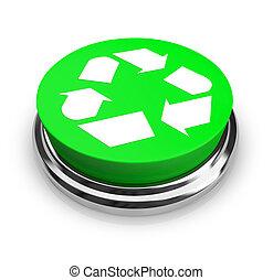 recycler, -, symbole, vert, bouton