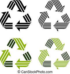 recycler, symboles, rayé, vecteur
