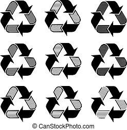 recycler, symboles, vecteur, orné