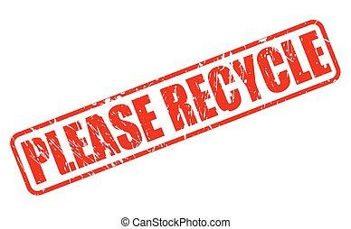 recycler, timbre, s'il vous plaît, rouges, texte