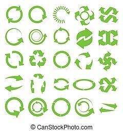 recycler, vert, rond