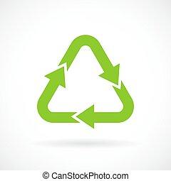 recycler, vert, signe