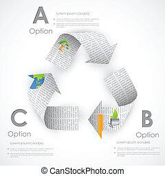 recycleren symbool, gemaakt, van, krant