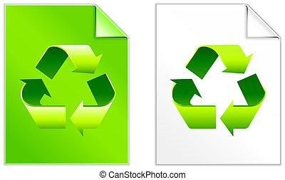 recycleren symbool, papier, set