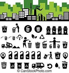 recyclerende bak, pictogram, set