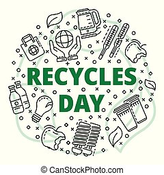 Recycles clean day concept background, outline style