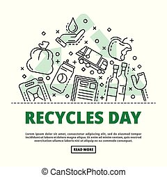 Recycles day concept background, outline style