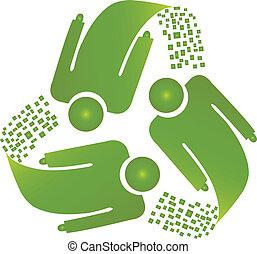 recyclez logotype, hommes, collaboration, vecteur
