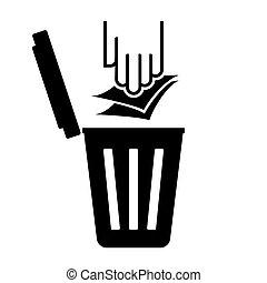 recyclez symbole, papier, -, déchets