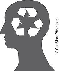 recyclez symbole, vecteur, tête