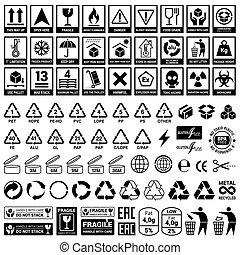 recycling., állhatatos, elements., ikonok, csomagolás, vektor, hajlandó