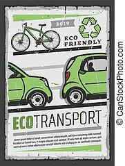 recycling., électrique, eco, vélo, voiture, transport