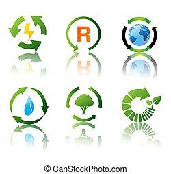 recycling, środowiskowy, komplet, wektor, ikony