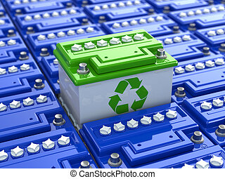 recycling., 電池, 自動車, energy., 緑の背景, accumulators., 3d