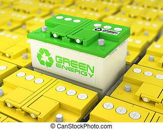 recycling., 電池, 自動車, energy., accumulator, 緑の背景