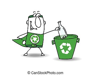 Recycle-Man the superhero recycles a glass bottle in a specific trash