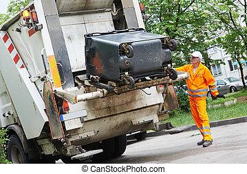 recycling, afval, en, restafval