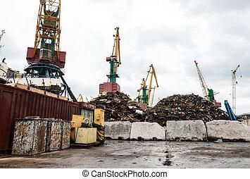 recycling, afvalmateriaal, inlading, metaal, scheeps