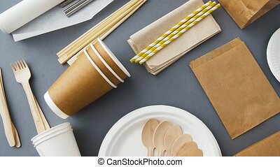 disposable dishes of paper and wood - recycling and eco...
