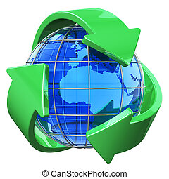 Recycling and environment protection concept: blue Earth globe covered by green recycling symbol isolated on white background