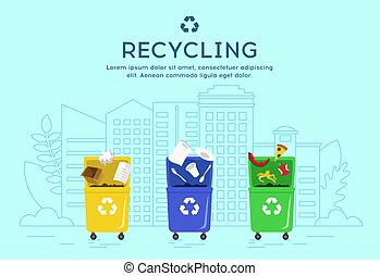 Recycling and Waste sorting concept. Set of trash bins with sorted garbage.