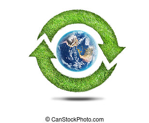 Recycling arrows and blue earth on white background