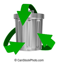 recycling arrows and garbage basket. Isolated 3d image