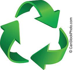 Recycling arrows - Triangular recycling symbol. Illustration...