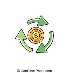 recycling arrows with money coin