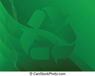 Illustration with the recycling symbol over a green patterned background