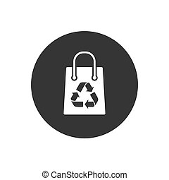 Recycling bag icon on gray. Vector flat style - Recycling ...