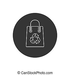 Recycling bag line icon on white. Vector in modern flat ...