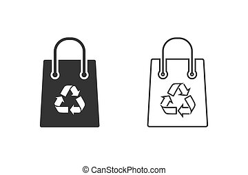 Recycling bag line icon set on white. Vector