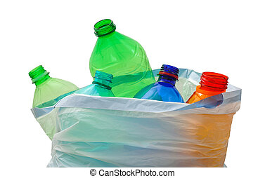 recycling bag with bottles