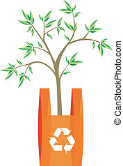 illustration of recycling arrows symbol in a bag with a tree inside. Metaphor of the importance of recycling plastics actitude