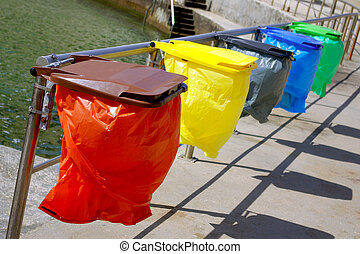 Clean colorful trash separation recycling bags